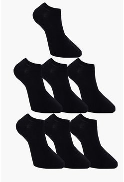 Mens 7 Pack Plain Black Trainer Socks