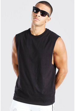 Mens Black Sleeveless T Shirt With Drop Armhole