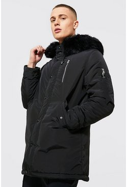 Mens Black MA1 Parka with Faux Fur Hood