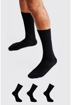 Mens Black 3 Pack Plain Cotton Socks