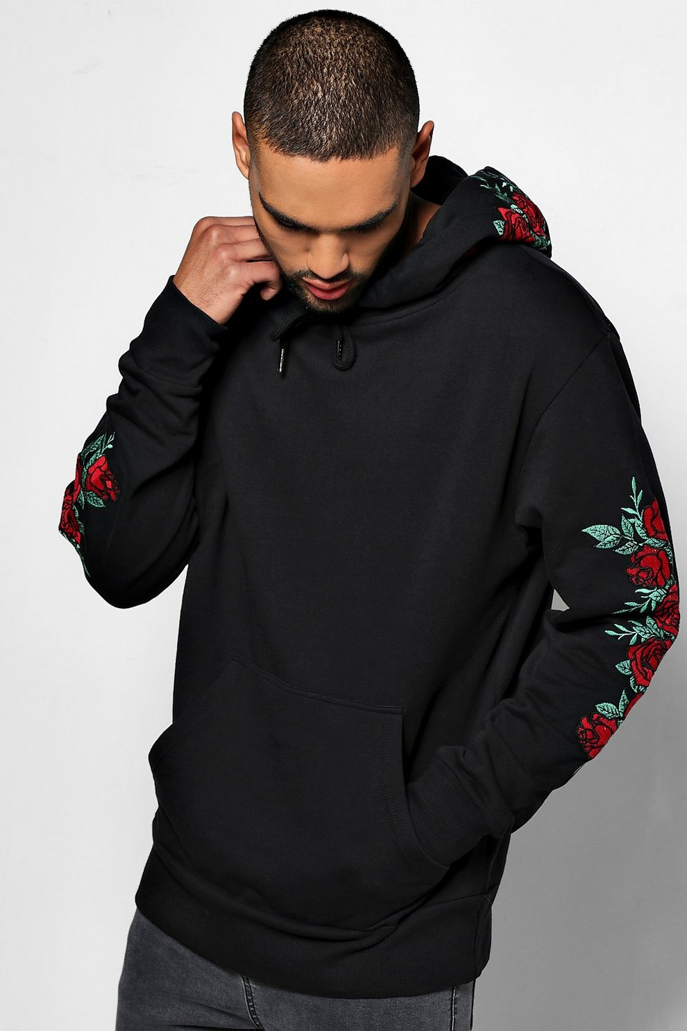 93c7753c61 Mens Black Over The Head Hoodie With Rose Embroidery
