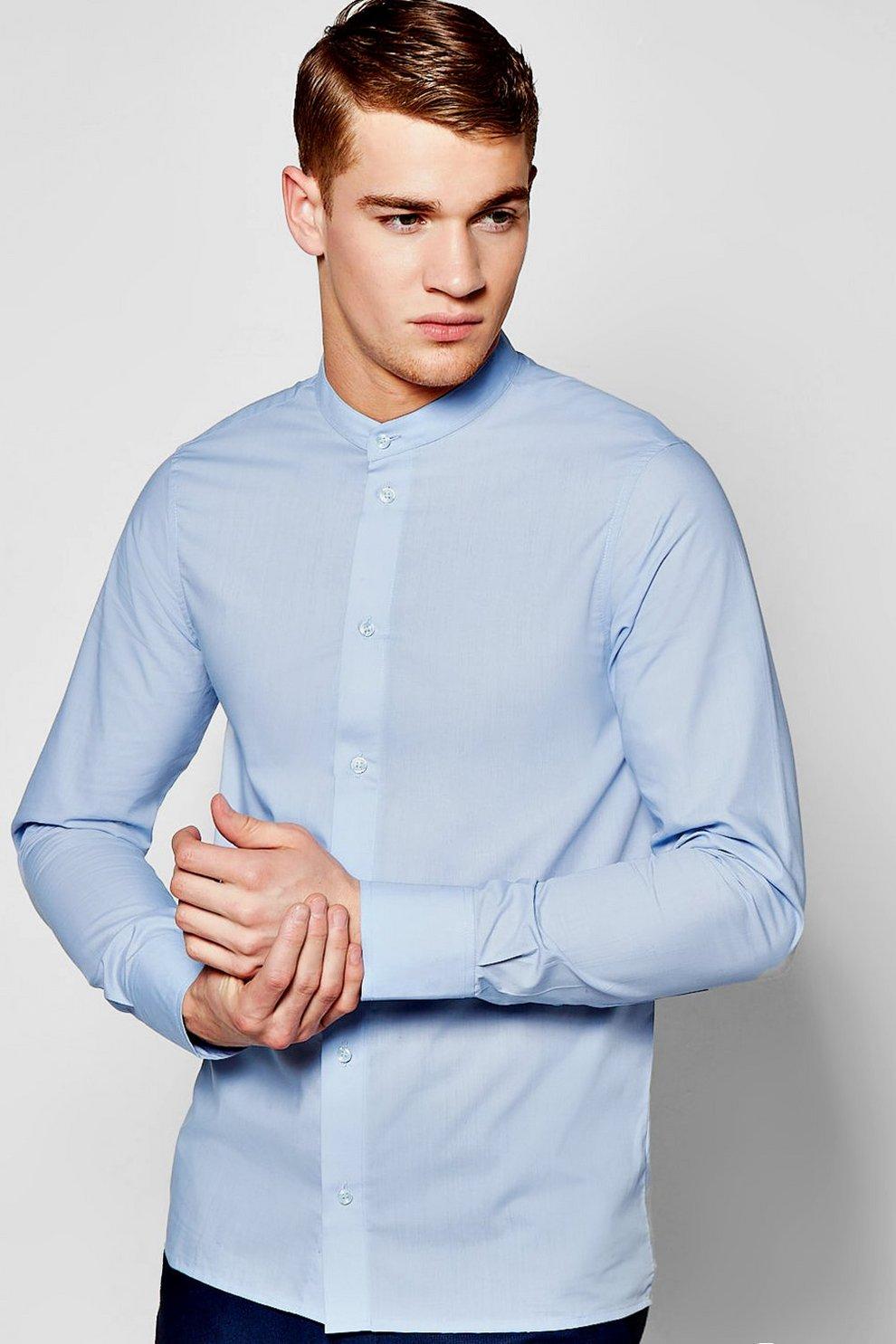 f5816592890c42 Slim Fit Long Sleeve Grandad Collar Shirt - boohooMAN