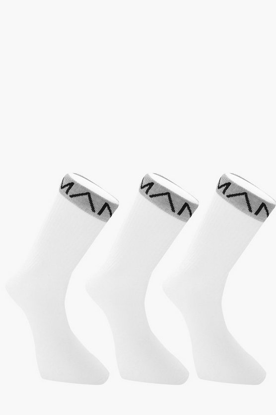 White 3 Pack MAN Branded Sport Socks With Grey Band