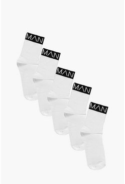 Mens White 5 Pack MAN Branded Sports Socks With Black Band