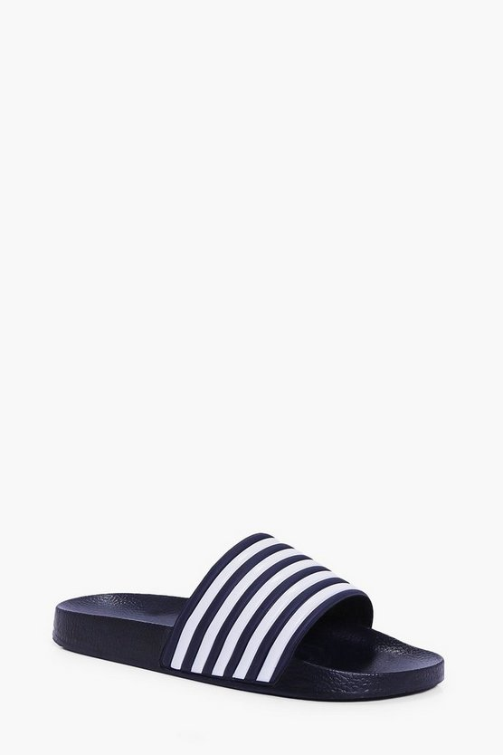 Mens Navy Pool Sliders