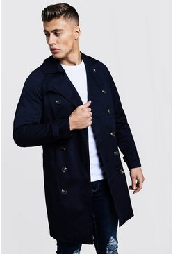Mens Navy Double Breasted Smart Trench