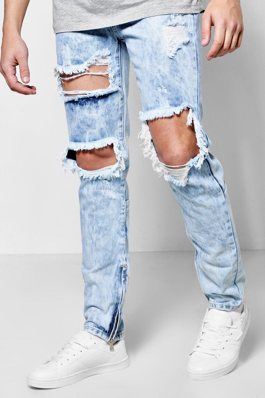 dc7fa3f283c Skinny Fit Rigid Acid Wash Ripped Jeans - boohooMAN