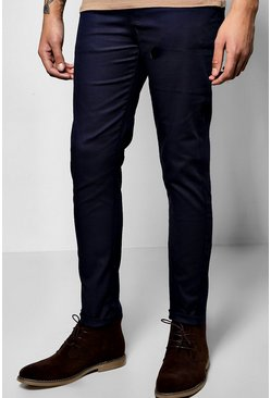 Mens Navy Skinny Stretch Chino Trouser