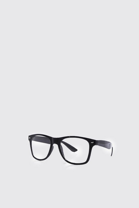 Mens Black Classic Geek Glasses