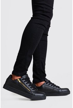 Black Faux Leather Gold Zip Sneakers
