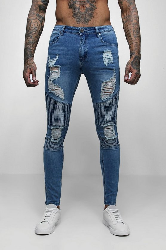 Mid blue Super Skinny Biker Jeans With Extreme Rips