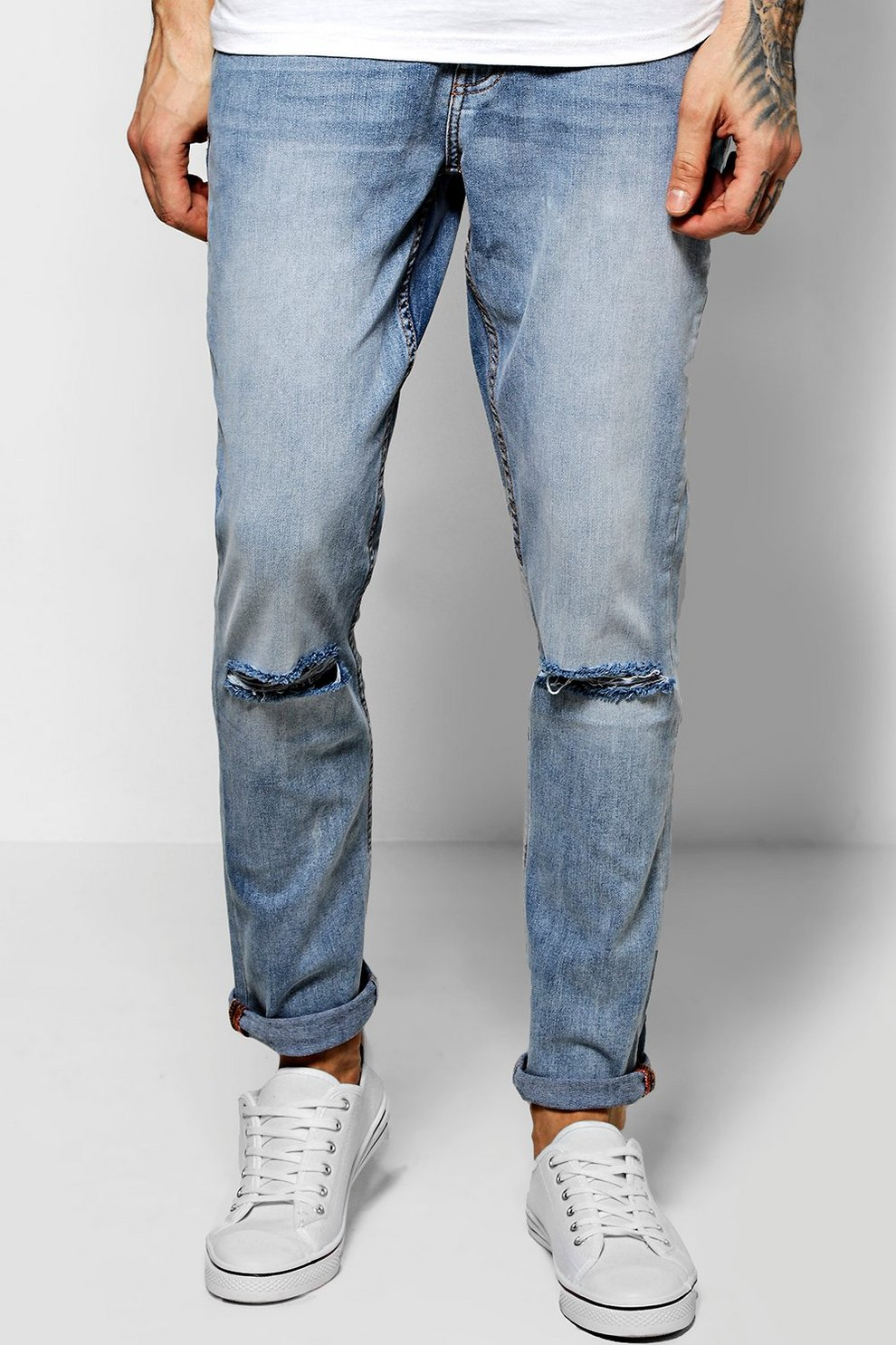 1d2a75041d30 Super Skinny Fit Jeans With Ripped Knees - boohooMAN