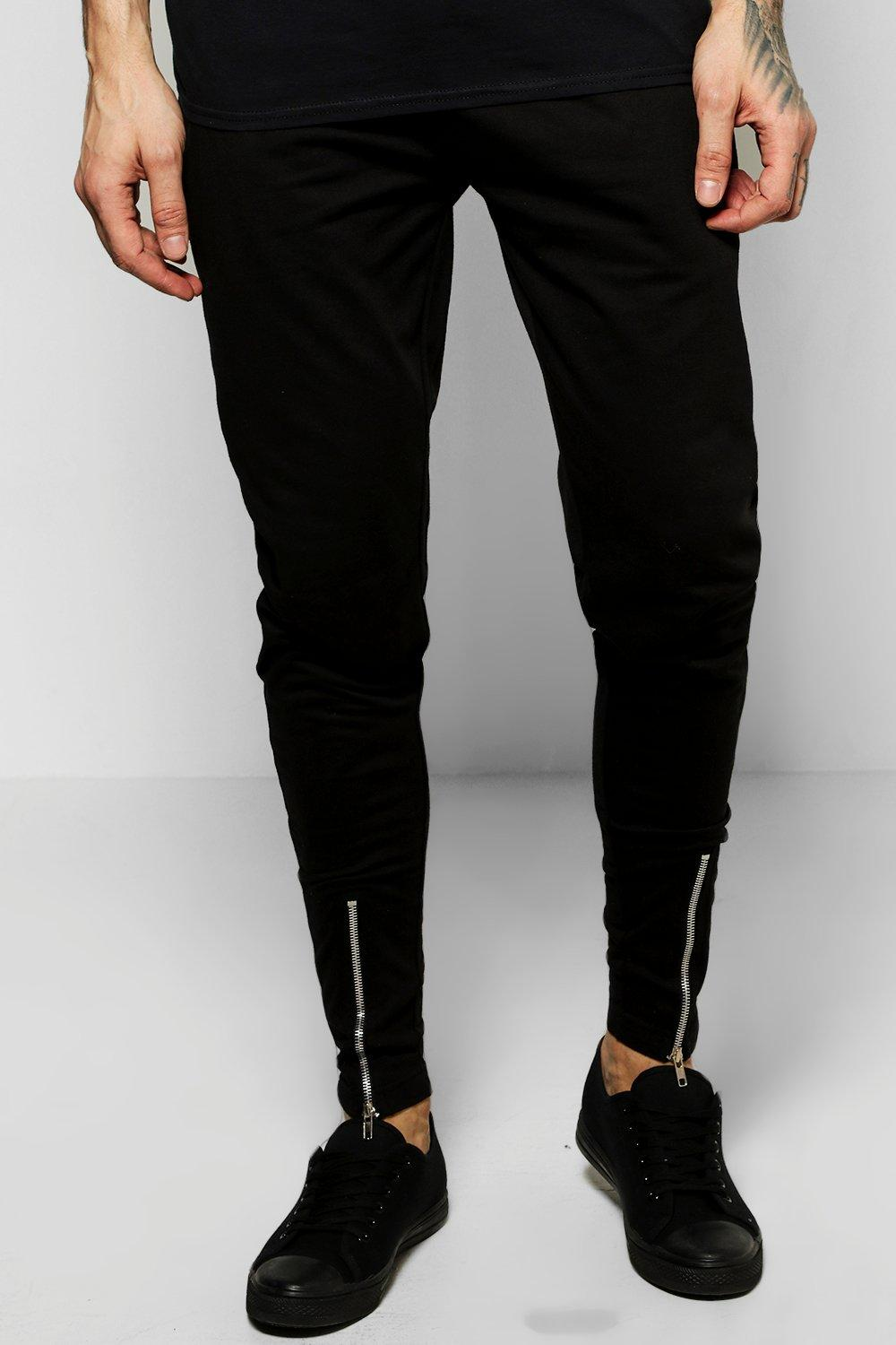 8b03c8cfc222df Mens Black Skinny Fit Jersey Joggers With Zip Front. Hover to zoom