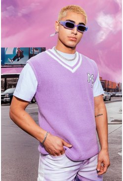 Knitted Varsity Vest, Lilac