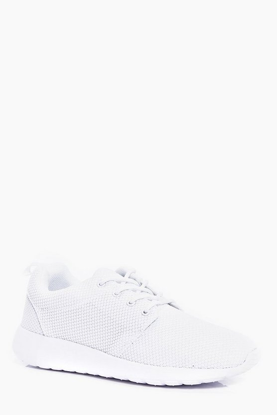 Mens White Lace Up Running Trainers