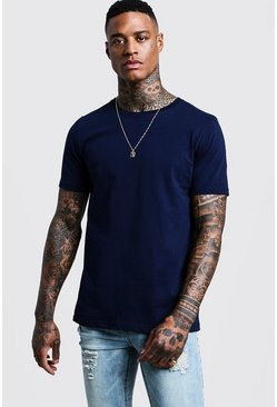 Navy Basic Crew Neck T Shirt