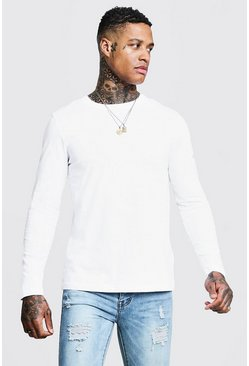 Mens White Basic Long Sleeve Crew Neck T Shirt