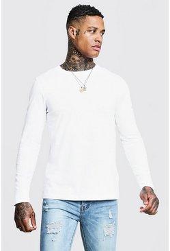 White Basic Long Sleeve Crew Neck T Shirt
