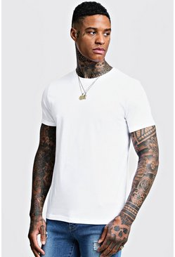 White Crew Neck T-Shirt with Rolled Sleeves