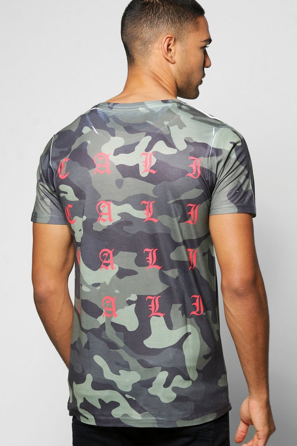 15c18563a Mens Red Camo T-Shirt With Cali Back Print. Hover to zoom