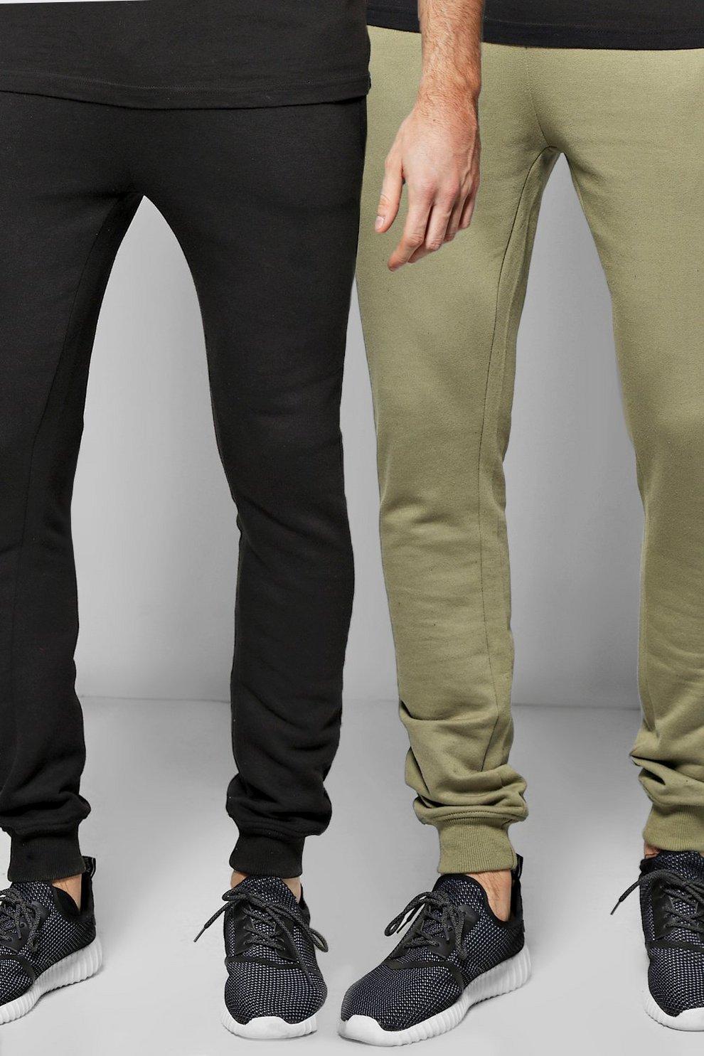 e0e525cf Super Skinny Joggers 2 Pack In Black/Khaki - boohooMAN