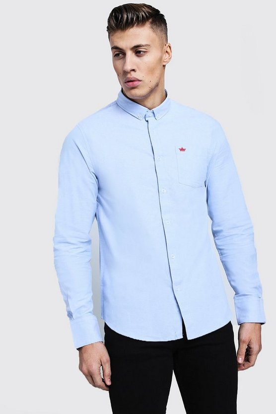 Mens Blue Long Sleeve Oxford Shirt