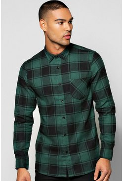 Mens Khaki Long Sleeve Buffalo Brushed Check Shirt