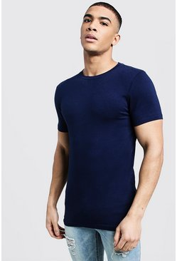 Navy Muscle Fit Crew Neck T Shirt