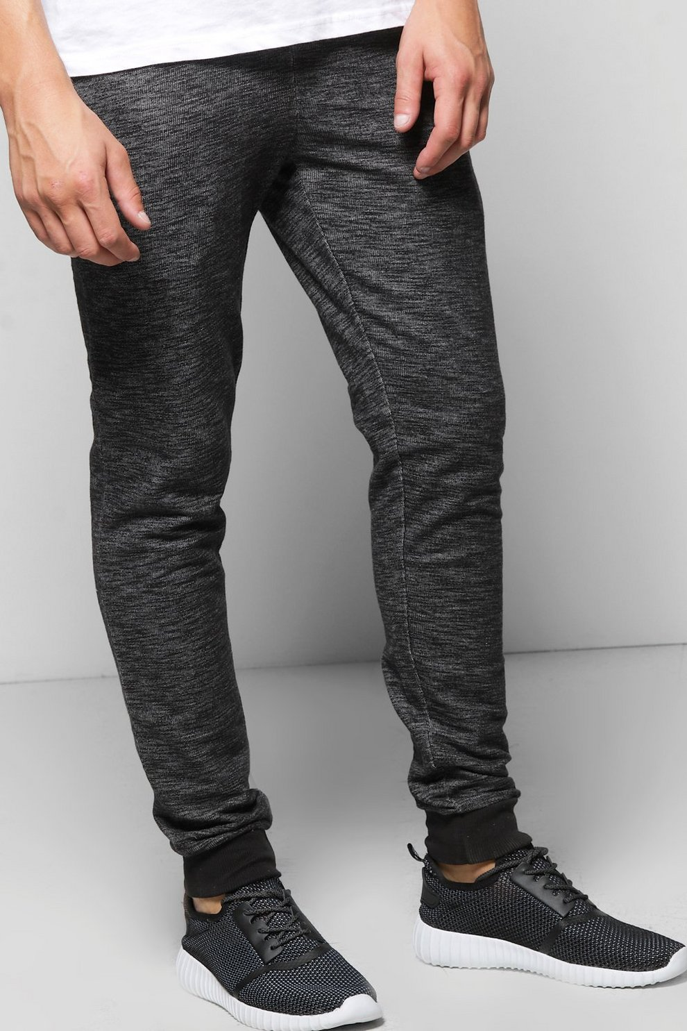 2c2ebccc9c768d Mens Black Space Dye Skinny Joggers. Hover to zoom
