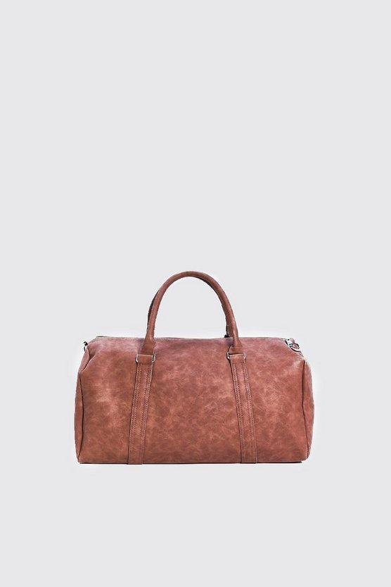 Brown PU Weekend Holdall with Zips