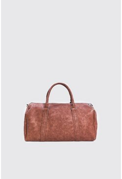 Mens Brown PU Weekend Holdall with Zips