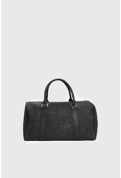 Black PU Weekend Holdall with Zips