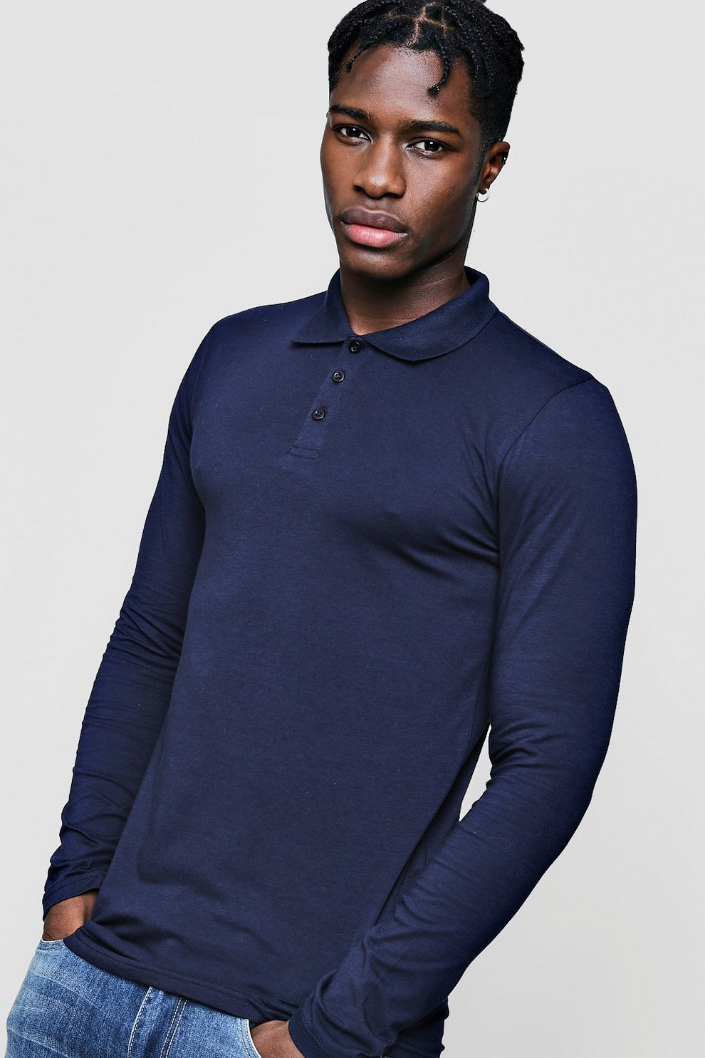 539c659d Mens Navy Long Sleeve Muscle Fit Polo. Hover to zoom