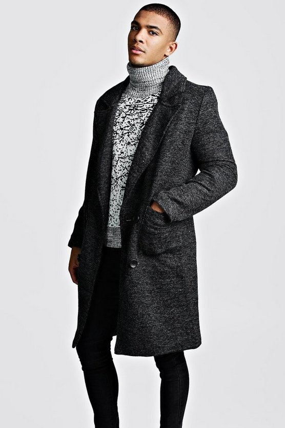 Mens Black Textured 3/4 Smart Lined Overcoat