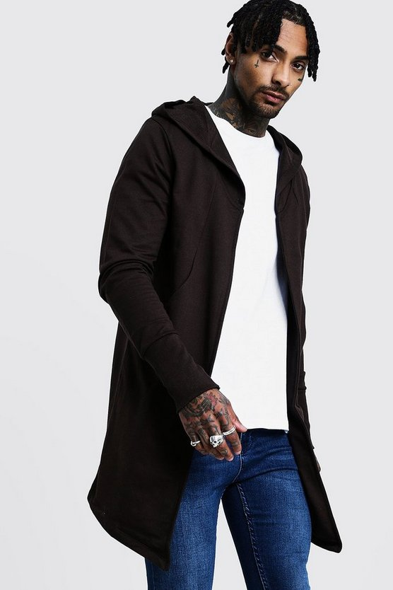 Mocha Longline Hooded Cardigan With Extended Cuff