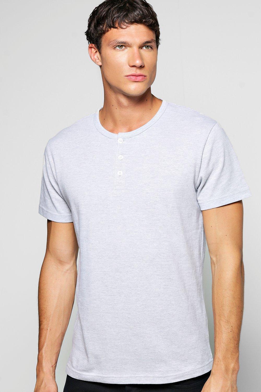c450243a6fdc3d Mens Grey Pique Short Sleeve Grandad Shirt. Hover to zoom. Close video