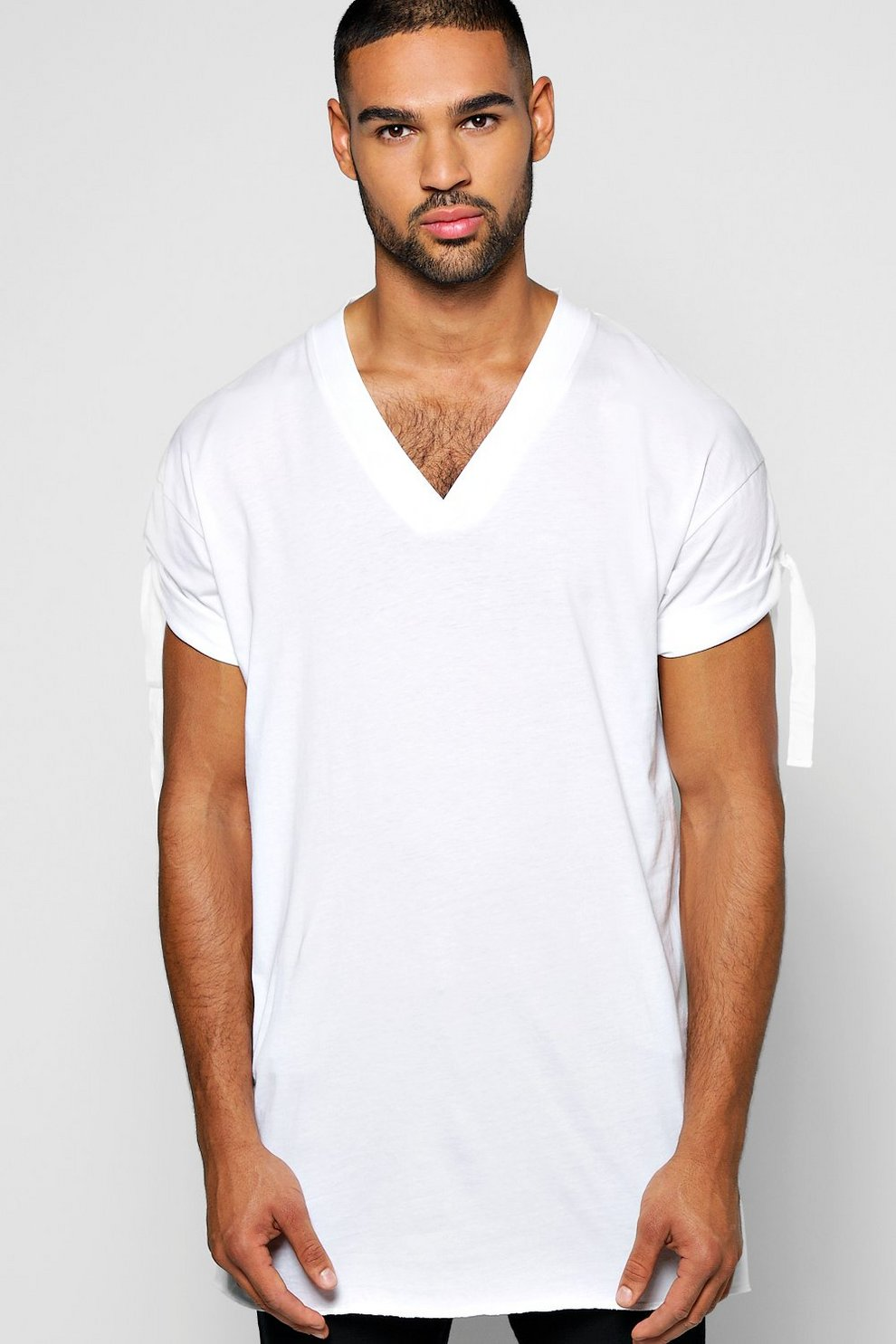0449f7efe9d1e8 Longline Tie Turn Up Sleeved Tee - boohooMAN