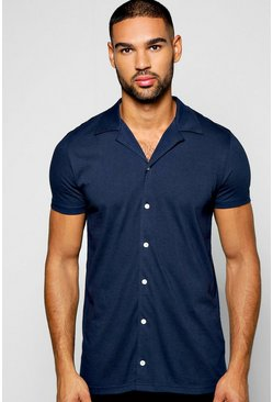 Mens Navy Short Sleeve Revere Collar Jersey Shirt