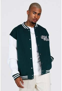 Official Man Jersey Varsity Bomber Jacket, Green
