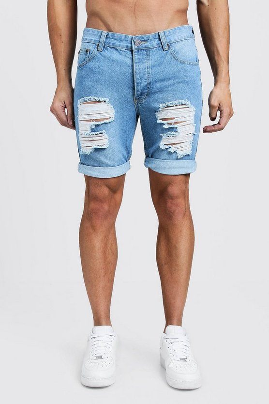 Pale blue Skinny Fit Rigid Denim Shorts with Extreme Rips