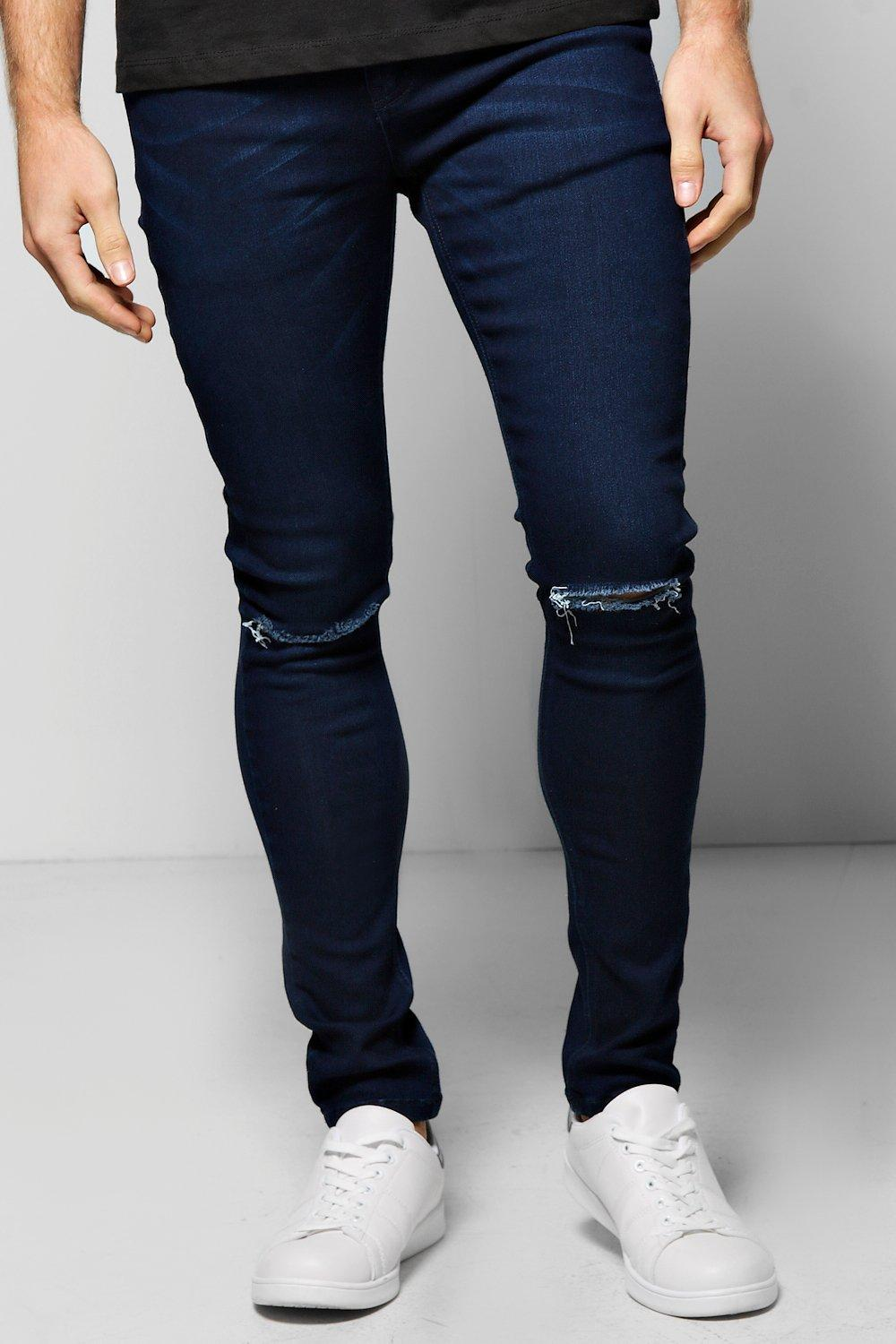6809ba475cd6 Super Skinny Stretch Jeans with Ripped Knees - boohooMAN