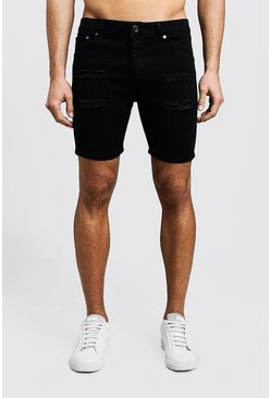 Mens Black Skinny Fit Distressed Denim Shorts