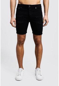 Black Skinny Fit Distressed Denim Shorts