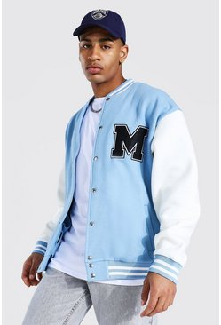 Dusty blue M Applique Badge Jersey Varsity Bomber Jacket