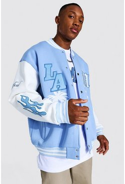 Light blue La  Badge Jersey Varsity Bomber Jacket