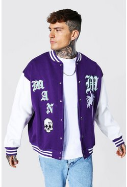 Jersey Varsity Bomber Jacket With Skull Badge, Purple