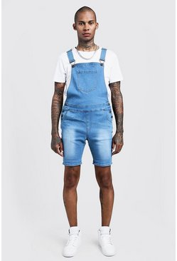 Short salopette en denim coupe slim, Bleu, Homme