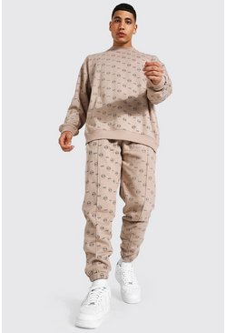 Stone Oversized All Over Man Sweater Tracksuit