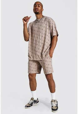 Stone Oversized All Over Man T-Shirt And Short Set