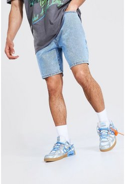 Ice blue Relaxed Fit Worker Denim Short